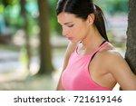 tired   sad fitness woman...   Shutterstock . vector #721619146