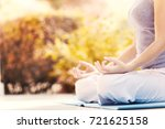 yoga girl in the summer tropics ... | Shutterstock . vector #721625158