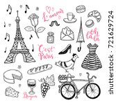 doodle vector set with hand... | Shutterstock .eps vector #721629724