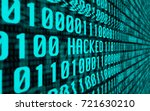 "Small photo of Concept With a Screen Full of Binary Computer Data Glitching into the Word ""Hacked"""