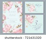 vector wedding invitation cards ... | Shutterstock .eps vector #721631320