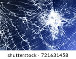 blue cracked screen  background ... | Shutterstock . vector #721631458
