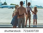 back view of parents and little ... | Shutterstock . vector #721633720