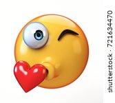 kiss emoji isolated on white...   Shutterstock . vector #721634470