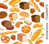 vector seamless pattern bread... | Shutterstock .eps vector #721634473