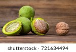 fresh harvest of walnuts on a... | Shutterstock . vector #721634494