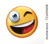 winking emoji isolated on white ... | Shutterstock . vector #721634608
