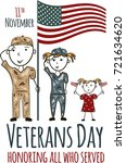 veterans day greeting card with ... | Shutterstock .eps vector #721634620