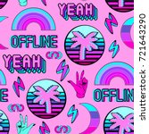 vaporwave seamless pattern with ... | Shutterstock .eps vector #721643290