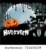 happy halloween background with ... | Shutterstock .eps vector #721655239