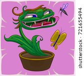 funny cartoon plant.... | Shutterstock .eps vector #721655494