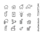 smart home and technology icons ... | Shutterstock .eps vector #721657144