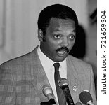 Small photo of Chicago Illinois, USA, 2nd August, 1986 The Reverend Jesse Jackson speaks to the crowd gathered to see and hear Nicaraguan President Daniel Ortega at Operation Push.