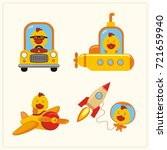 set of isolated chicken in... | Shutterstock .eps vector #721659940