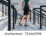 man jogging on footway outdoor | Shutterstock . vector #721662598