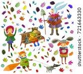 watercolor beautiful children... | Shutterstock . vector #721663330