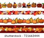 abstract autumn frame seamless... | Shutterstock .eps vector #721663444