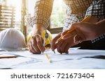 image of engineer meeting for... | Shutterstock . vector #721673404