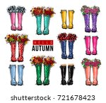 hello autumn greeting card.... | Shutterstock .eps vector #721678423