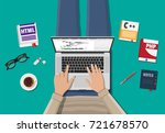 workplace of freelance... | Shutterstock .eps vector #721678570