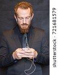 portrait of a ginger hair man... | Shutterstock . vector #721681579