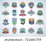 soccer  football logo templates ... | Shutterstock .eps vector #721681759