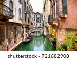 traditional canal street with... | Shutterstock . vector #721682908