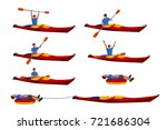 man in kayak set 02 | Shutterstock .eps vector #721686304