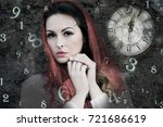 woman numerology and time | Shutterstock . vector #721686619