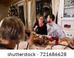beautiful couple celebrating... | Shutterstock . vector #721686628