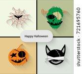 happy halloween icons vector. | Shutterstock .eps vector #721695760