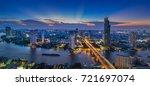 panorama of twilight city view... | Shutterstock . vector #721697074