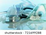 medical stethoscope  mask... | Shutterstock . vector #721699288