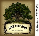 Vector old-fashioned banner with fairy-tale rooted oak tree - stock vector
