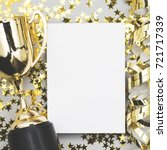 gold winners trophy with a... | Shutterstock . vector #721717339