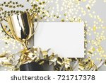 gold winners trophy with a... | Shutterstock . vector #721717378
