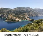 a view of assos village on its... | Shutterstock . vector #721718068
