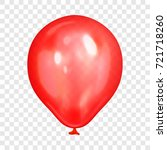 realistic red balloon  isolated ... | Shutterstock .eps vector #721718260