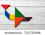 wooden tangram in an airplane... | Shutterstock . vector #721720348