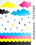 rain droplets of colored ink of ... | Shutterstock .eps vector #72172069