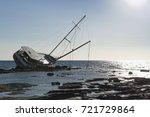 Sailboat  Stranded Along The...