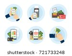 payment illustration set. cash... | Shutterstock .eps vector #721733248