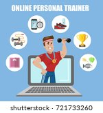 online personal trainer. fit... | Shutterstock .eps vector #721733260