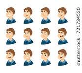 male emotions set on white... | Shutterstock .eps vector #721734520