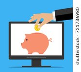 a hand puts a coin in a pig... | Shutterstock .eps vector #721736980