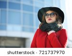 cute businesswoman in a red... | Shutterstock . vector #721737970