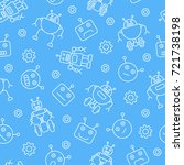 robot seamless pattern. tiling... | Shutterstock .eps vector #721738198