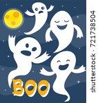 happy halloween greeting card... | Shutterstock .eps vector #721738504