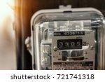 watthour meter of electricity... | Shutterstock . vector #721741318