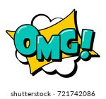 omg  speech bubble in retro... | Shutterstock .eps vector #721742086